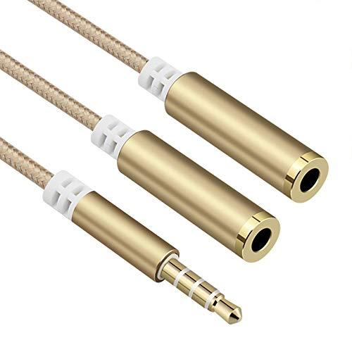 SONSYON Adaptador para Dos Auriculares Audio Estéreo Splitter con Doble Salida Jack 3.5mm Cable Conector Jack Adaptador Divisor de Auricular Auriculares para Smartphone