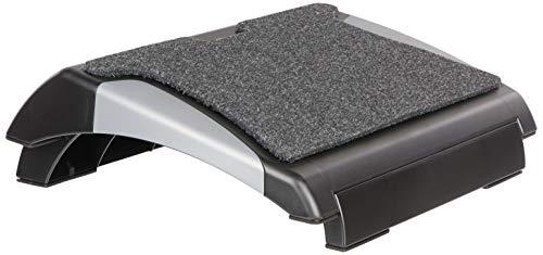 Q-Connect Repose-pieds avec tapis – Noir/Argent
