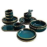 HCFSUK Platos, Cuenco, Verde Pavo Real con Borde Dorado, vajilla de cerámica, vajilla de cerámica, vajilla de Porcelana, Juego de 18 Piezas
