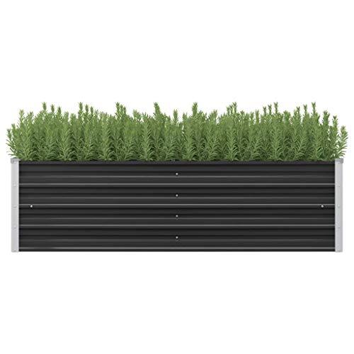vidaXL Jardinera de Jardín Acero Galvanizado 160x40x45cm Verde Florero Patio