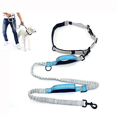 N\ A Hands Free Dog Running Leash with Adjustable Waist Belt, Walking, Hiking,Dual Handle Elastic Bungees Retractable Rope for Medium and Large Dogs, Bungees for Up to 150 Lbs Large Dogs Blue