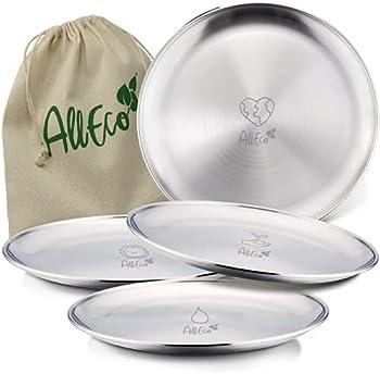 AllEco® Lot de 4 assiettes de camping en acier inoxydable - Diamètre : 20 cm - Pour 4 personnes - Durable et sans plastique