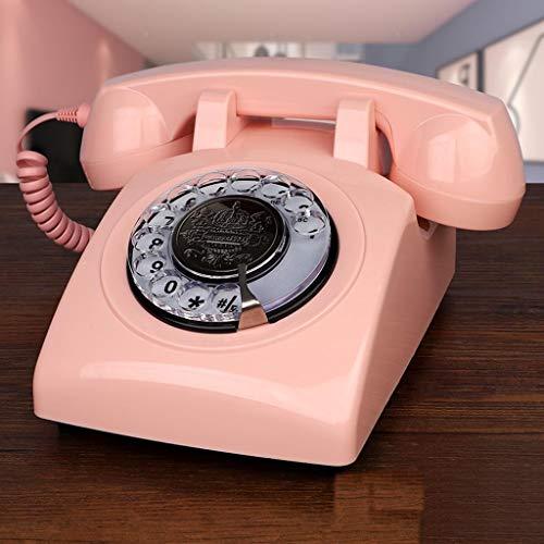 NYDZDM Teléfono Clásico Teléfono De Escritorio Teléfono De Casa Dial Giratorio Vintage con Marcador Giratorio Sala De Estar Estudio Decoración Retro Teléfono De Oficina En Casa (Color : Pink)