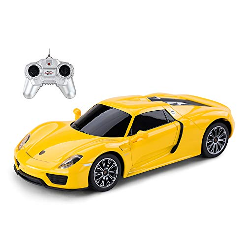 RASTAR Porsche Remote Control Car, 1:24 Scale Porsche 918 Spyder RC Toy Car for Kids - Yellow
