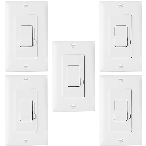 ENERLITES Decorator Slide Dimmer Switch and Wall Plate, On/Off Rocker, Single-Pole or 3 Way, Neutral Wire Not Required, for 150W LED CFL 700W Incandescent Halogen, ETL Listed, 51300-W, White 5 Pack