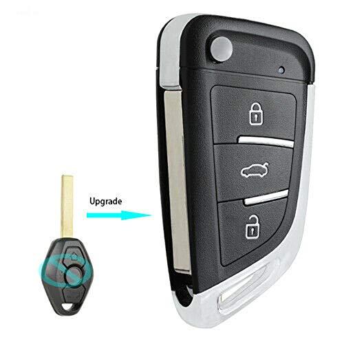 Keyecu Upgrade Flip Remote Key Fob 315MHz ID44 for BMW EWS 1998-2009- LX8 FZV (HU92, 315MHZ)