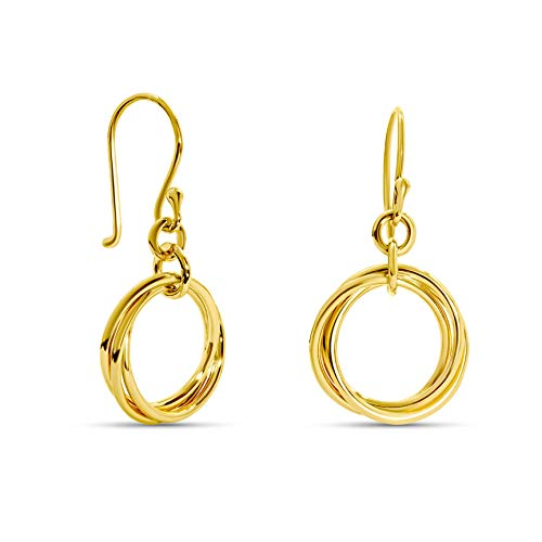 Miore 14 kt 585 yellow gold drop earrings with triple Hoops/Circles, length 25 mm