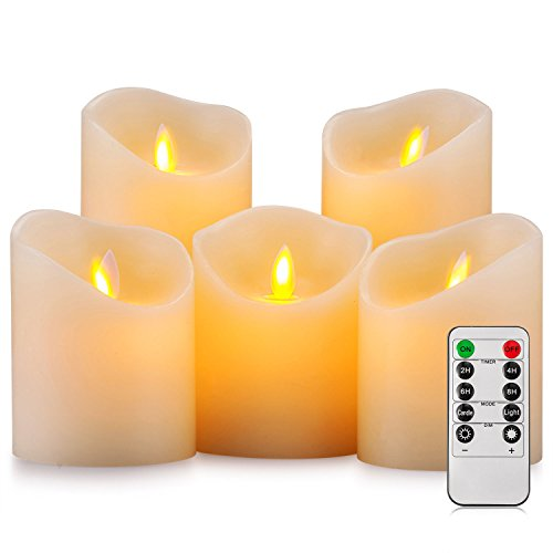 Pandaing Battery Operated Candles Set of 5 Pillar Realistic Real Wax Flameless Flickering LED Candles with Remote Control 2 4 6 8 Hours Timer