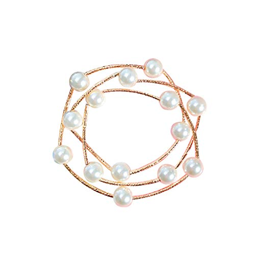 Diadia Bracelet Stylish and Refined Three-Layer Beaded European and American Style Retro Necklace Dual-Use Elastic Female (White)