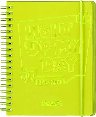"BRUNNEN 1071890161 ""Light up"", Wochenkalender/Schülerkalender 2020/2021, 2 Seiten = 1 Woche , Blattgröße 12 x 16 cm , A6 , PVC-Einband , gelb"