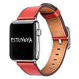 Estuyoya - Pulsera de Piel compatible con Apple Watch Diseño de Cuero Fino y Elegante Exclusivo Cierre Hebilla Acero Inoxidable para 42mm 44mm Series 6 / 5 / 4 / 3 / 2 / 1 / SE - Rojo