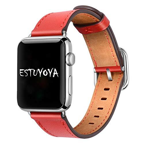 Estuyoya - Pulsera de Piel compatible con Apple Watch Diseño de Cuero...
