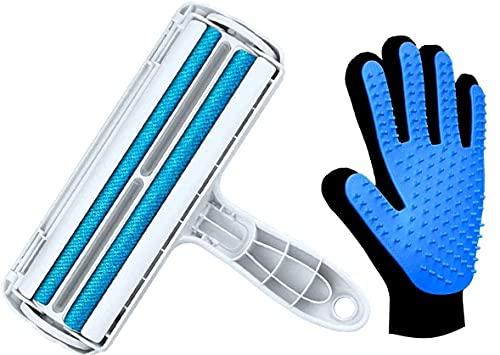 Auroni Fusselbürste und kostenlos Handschuh dazu für Fellpflege Fusselrolle Tierhaarentferner aufnehmen von Haaren Katze Hund alle Tierhaare Möbel Sofa Massage- tolles Geschenk für Tierbesitzer