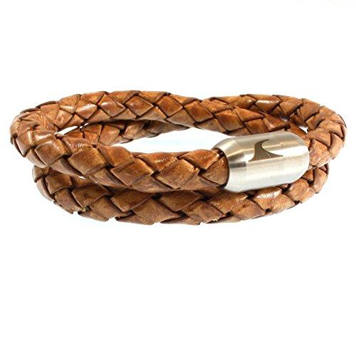 WAVEPIRATE® Echt Leder-Armband Fuerte XL Cognac 40 cm Edelstahl-Verschluss in Geschenk-Box Surfer Damen Herren