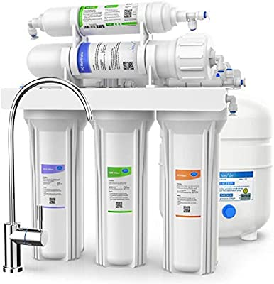 SimPure Reverse Osmosis Water Filtration System – NSF Certified 5 Stage RO Water Filter System with Faucet and Tank - Under Sink Water Filter - Ultimate Water Softener - 75 GPD