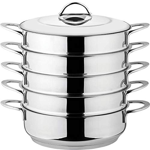 rukauf Dampfkocher, Mantowarka, Gardampfkochtopf Set aus Edelstahl mit Edelstahldeckel (28cm)
