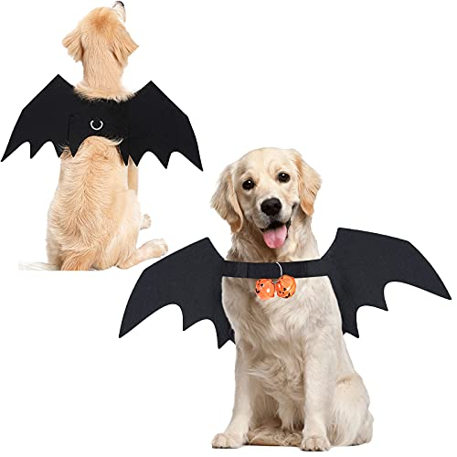 Halloween Dog Bat Wings Pet Costume with Pumpkin Bells for Halloween Party Decorations, Cute Puppy Dog and Cat Collar Bat Wings Cosplay Party Dress Up Funny Cool Appare(Large)