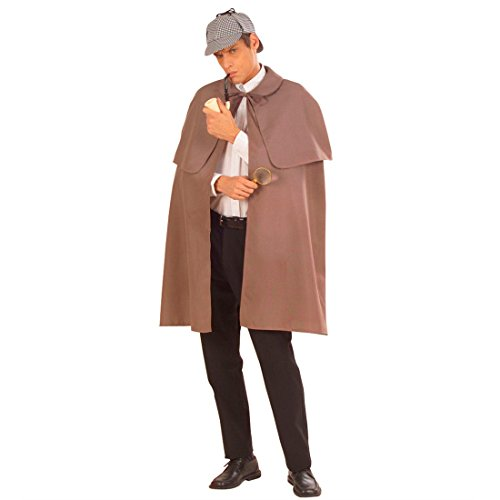 NET TOYS Detektiv Umhang Agenten Mantel Sherlock Holmes Kostüm Detektivmantel Agentenmantel Fasching Karneval