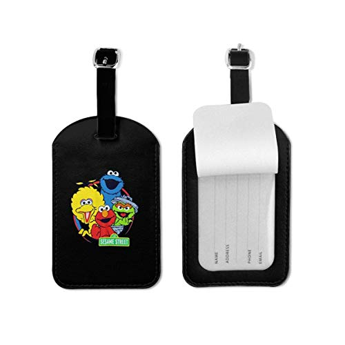shenguang Sesame Street Luggage Tag Travel Id Label Leather for Baggage Suitcase 1 Piece