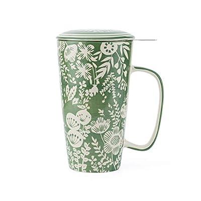 Taimei Teatime Tea Mug|17 fl.oz Large Mug, Handpainted Tea Cup with Infuser and Lid for Loose Leaf Tea(British Garden)
