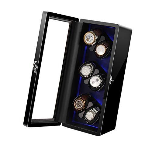shelf Avvolgitore per 6 Orologi con Retroilluminazione a LED, Opzione di Arresto Motore, Cuscino da Tavolo in Memory Foam, Blocco di Sicurezza, Motore Giapponese, Adatto per Polso da Donna e Uomo