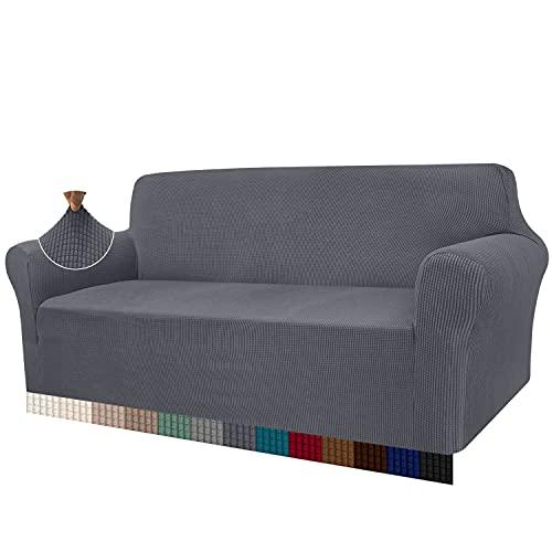 Granbest High Stretch Sofabezug Moderne Sofaüberwurf Jacquard Elastische Sofahusse für Wohnzimmer Protector für Hunde Haustiere (3 Sitzer, Grau)