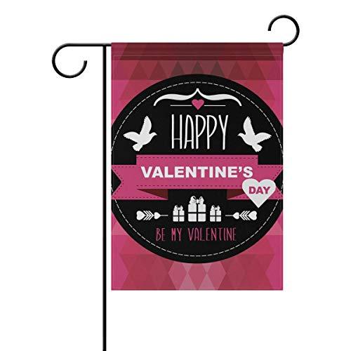 ZXYAIAN Feliz día de San Valentín pájaros amor corazón jardín patio bandera bandera para exterior maceta doble cara impresión 100 x 61 cm