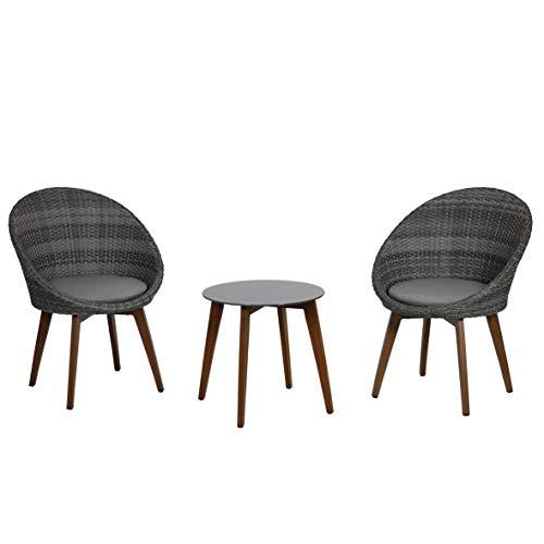 greemotion Balkonmöbel-Set Auckland, Sitzgruppe aus Aluminium, Polyethylengeflecht und Glas, Balkonset mit Tisch, zwei Stühlen und zwei Sitzkissen