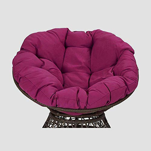 GWZSX Outdoor Papasan Chair Cushion Thicken With Ties Swing Hanging Basket Seat Cushion Round Hanging Egg Hammock Chair Pads For Patio Balcony-120cm Fuchsia