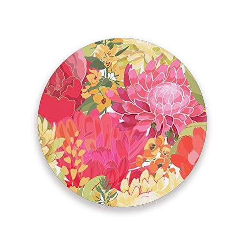 Ruchen - Juego de posavasos absorbentes para bebidas, diseño de flores, coloridos jardines peonías, ásteres, decoración de cerámica, cerámica, como se muestra en la imagen, 2 unidades
