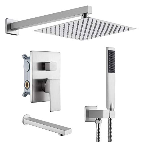 KES Shower System Pressure Balancing Shower Valve with Tub Faucet Spout Set Handheld and 10 Inch Rainfall Shower Head Combo All Metal Brushed Finish, XB6300-BN