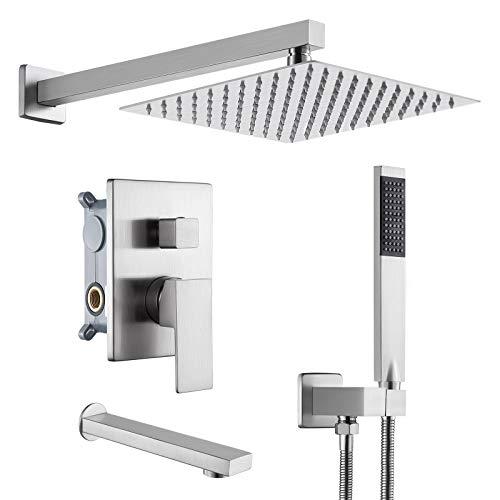 KES Shower System Pressure Balancing Shower Valve with Tub Faucet Spout Set...