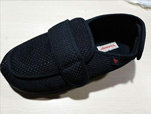 Nwarmsouth Zapato Unisex de Salud para Adultos,Hinchazón del pie del Anciano Zapatos de Hombre, Ajuste de Apertura Zapatos diabéticos-48_2 Negro,Zapatillas de pies hinchados