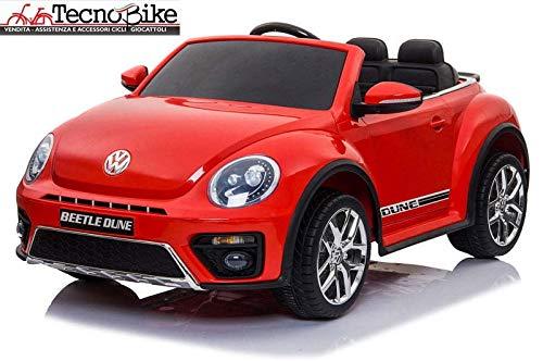 Tecnobike Shop Auto Elettrica per Bambini Volkswagen Maggiolino New Beetle 12V Ufficiale Volkswagen 2 Luci Suoni Mp3 (Rosso)