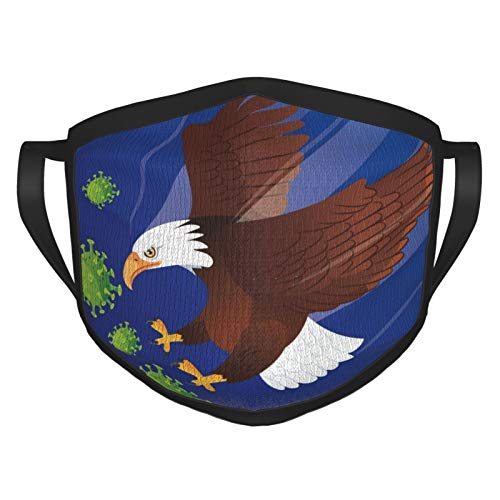 Bald Eagle Fighting The Coronavirus Adults Reusable and Breathable Face Mask, Adjustable Mouth Covering, Indoors and Outdoors, Anti-Haze Dust, Washable Face Bandanas