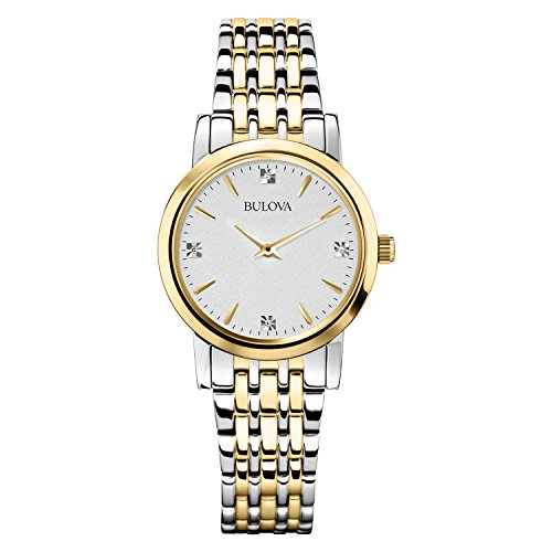 Bulova Diamond Classic 98S115 - Reloj de Pulsera de diseño para Mujer - Acero Inoxidable - Dorado