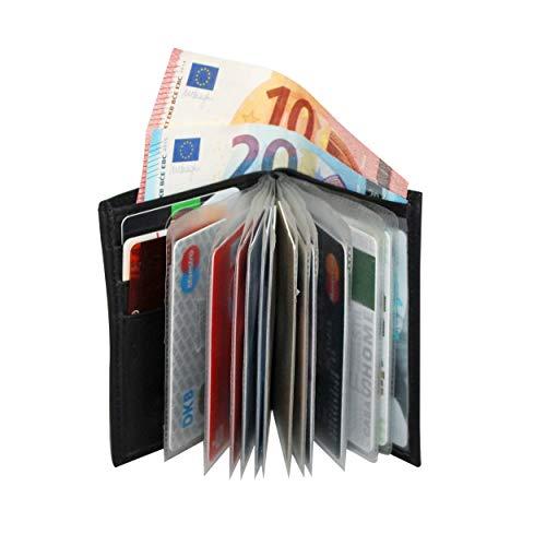 Kreditkartenetui Leder mit RFID Paris von BelliBiz | Version 2020 | Scheck-Kartenetui für Damen und Herren | Portemonnaie mit Münzfach und Geldfach | 16 Karten | Echtes Nappa Leder (schwarz)