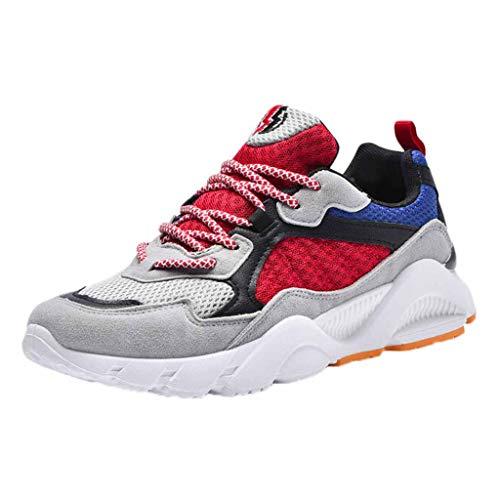 Xmiral Scarpe da Ginnastica da Uomo, Scarpe da Corsa Casual Sportive Running Fitness Sneakers Colore Abbinato Casual Selvaggio 40 EU Rosso