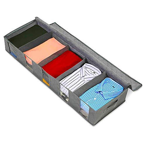 Cajas almacenaje de ropa organizador de armario zapatero bajo la cama cestas almacenamiento de ropa plegable antihumedad con doble cremallera cajon para camisas camisetas pantalones y prendas varias