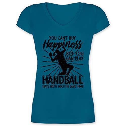 Handball - You Can\'t Buy Happiness, but You can Play Handball - weiß - XXL - Türkis - Spruch - XO1525 - Damen T-Shirt mit V-Ausschnitt