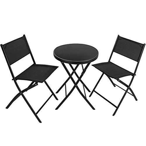 TecTake Salon de Jardin Düsseldorf, 1 Table et 2 Chaises de Jardin Pliants, Set de Balcon, de Bistrot en Acier et Textilène Noir
