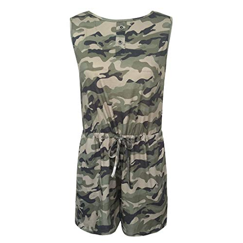Women Casual Shorts Playsuit Tanks Tops Rompers Casual Shorts Outfit Camouflage Print Jumpsuits Pajamas Set with Pockets (Multicolor, XL)