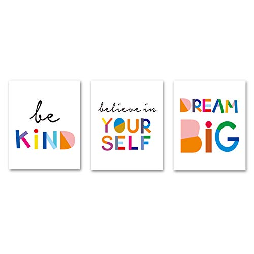"""HPNIUB Unframed Watercolor Words Inspirational Quote Minimalist Typography Art Print Set of 3 (12""""X16"""") Canvas Painting,Motivational Phrases Wall Art Poster for Kids Room Home Decor,No Frame"""