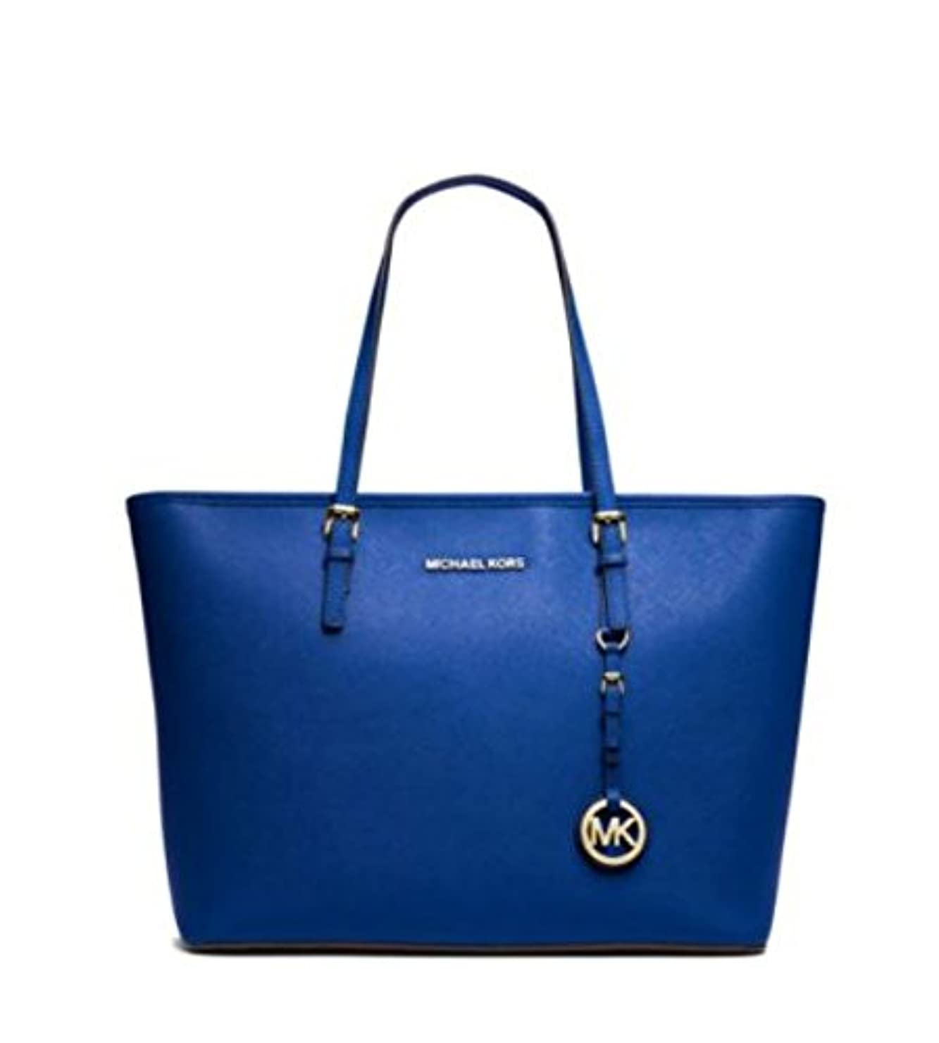 血統椅子くるくるMICHAEL KORS JET SET MEDIUM TRAVEL TOP ZIP TOTE ELECTRIC BLUE [並行輸入品]