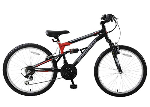 Ammaco. Summit 24' Wheel Boys Kids Dual Full Suspension Mountain Bike 14' Frame 18 Speed Black/Red Age 8+