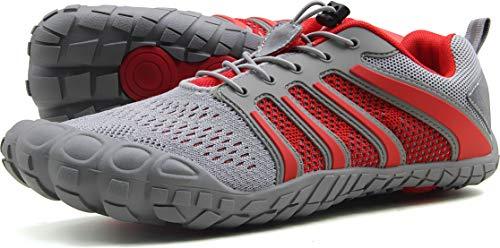 Oranginer Men's Minimalist Shoes Barefoot Shoes Zero-Drop Sole Shoes Men Gray/Red Size 11
