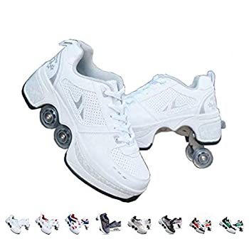 Roller Skates for Women,Shoes with Wheels for Girls/Boys,Men Outdoor Skates,Quad Skates for Kids,2 in 1 Double Line Skates/Kick Rollers Shoes for Adults,Parkour Deformed Shoes Unisex,White-6US…