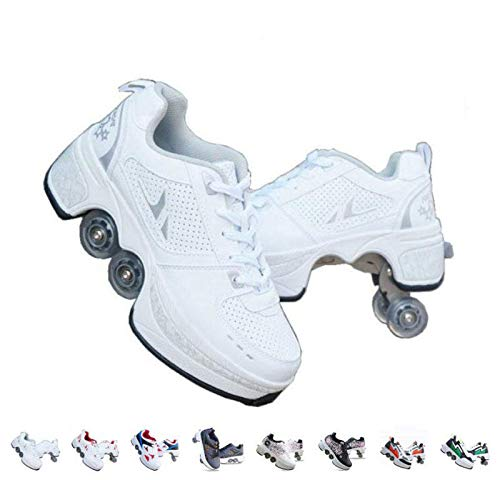 Roller Skates for Women,Shoes with Wheels for Girls/Boys,Men Outdoor Skates,Quad Skates for Kids,2 in 1 Double Line Skates/Kick Rollers Shoes for Adults,Parkour Deformed Shoes Unisex,White-5.5US