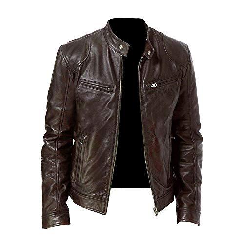Mibuy Hombres Stand Collar Solid Zipper Jacket Vintage Manga Larga Otoño Invierno Outwear Abrigos,Chaqueta Cuero Hombre Negra Chaquetas Militar Cazadora para Hombre Cálido Grueso (Marron,5XL)