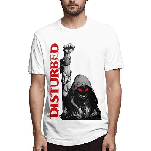 TYUHN Disturbed Up Yer Fist Camisa Hombre Verano Manga Corta Divertido gráfico Novedad Tops Camiseta de algodón Blanco